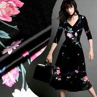 2016 New Luxury Black Pink Fancy Floral Print Spandex Silk Fabric For Dress Shirt Pure Silk