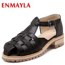 ENMAYER grade PU Buckle T-Strap women Sandals Rome Casual Platform five colors large size:34-43 Fretwork shoes