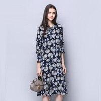 Silk Modal Dress Preppy Style Women Long Sleeve Real Silk Dress New Spring 2017