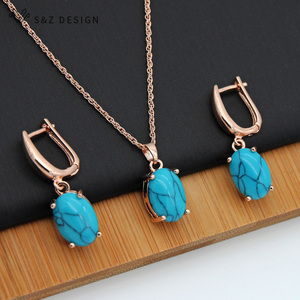 S&Z Fine Turquoises Oval Egg Shape 585 Rose Gold Earrings Jewelry Set For South Korean Women Temperament Wedding Fashion Jewelry(China)