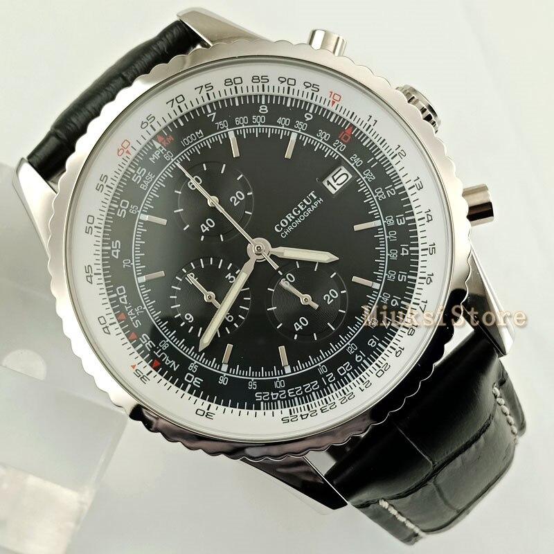 46.5mm niebieski czarny biały ruch: kwarcowy Masculino zegarki luksusowe Top mężczyźni moda Casual Dress zegarek na rękę zegarek w Zegarki mechaniczne od Zegarki na  Grupa 1