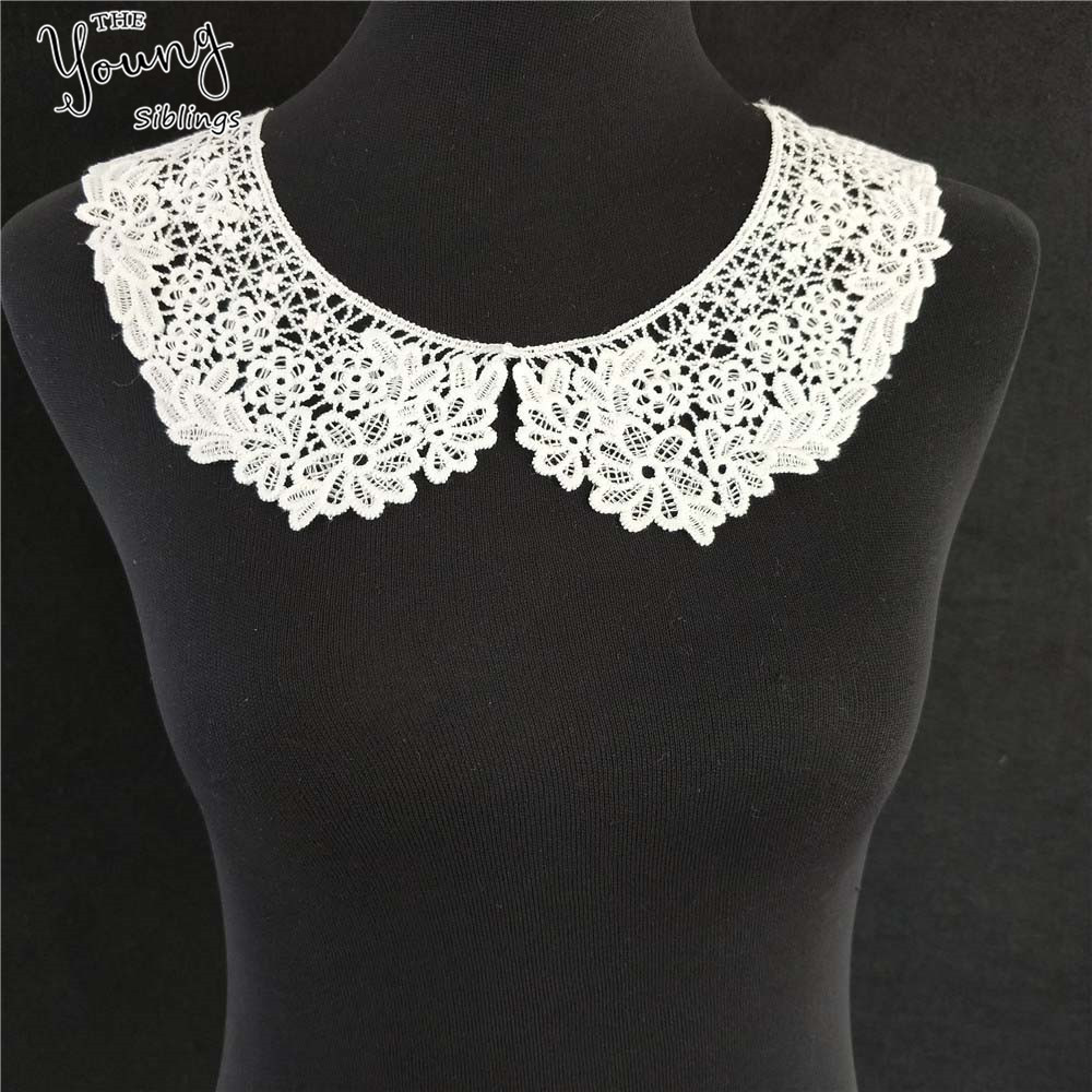 White Black Hollow Out Flower Lace Collar Sewing on Clothes Trim Embroidered Applique Neckline DIY Wedding Dress Accessory Style 1 White