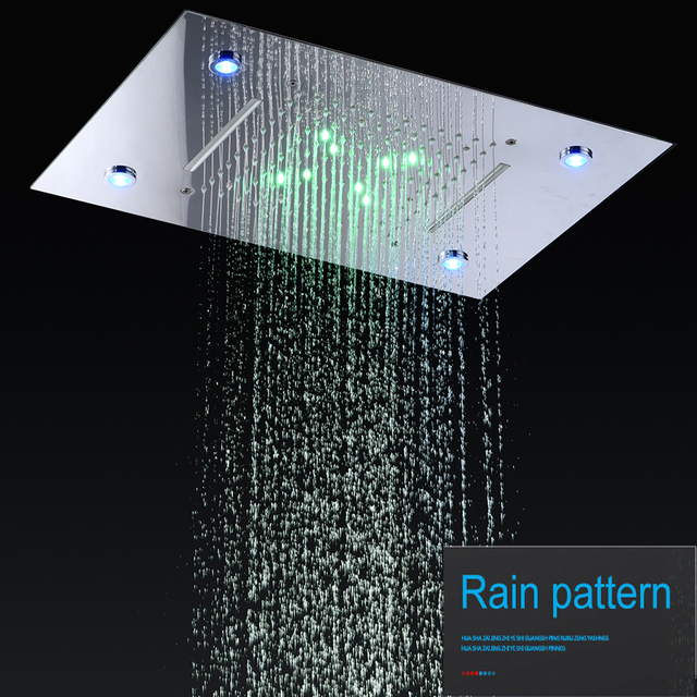 Modern Showers Ceiling Rain Overhead Shower LED Light Auto-change 360*500mm Waterfall Shower Head Tubs Showers