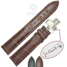 Genuine Leather Soft Watch Band Strap 18 19 20 21 22 24mm Lady Men Black Brown Watchbands Belt Deployment Clasp