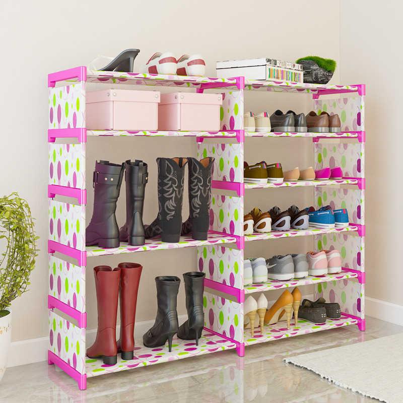 Простой Многослойная обуви стойки бытовой шкаф для хранения ткань пыли сборки Спальня общежитии полка для обуви