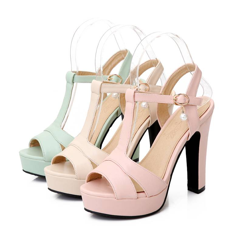 pink Toe D'été Bleu Beige Chaussures Rose Nouvelle Mode Partie Strass bracelet Talons Sandales Famso Femmes Hauts T Beige 2018 Peep green wARvOv