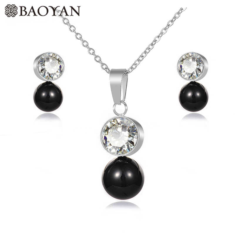 BAOYAN Elegant Gold Silver Chian 8 Color Round Crystal Pearl Pendant Women Stainless Steel Necklace Jewellery Set For Women