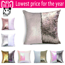PEIYUAN Magical Throw Pillowcase Color Changing Reversible Pillow Case Cover DIY Mermaid White Gold Sequin Cushion