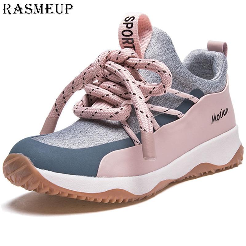 RASMEUP mode femmes baskets plates femmes baskets légères 2019 printemps confortable femme chaussures pour dames rose noir