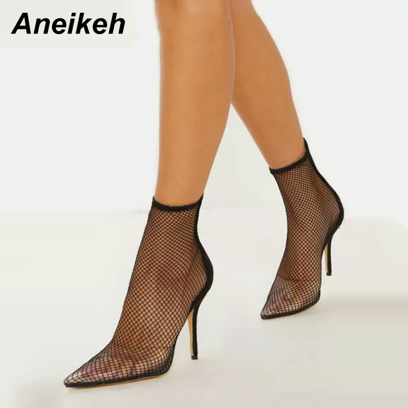 Aneikeh Fashion Patchwork Transparent PVC Mesh Upper Ankle Boots For Women Pointed Toe High Heels Shoes Woman Zapatos De Mujer