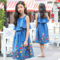 Dress Girl 10 years Embroidery Denim Dress Princess Party Dress 12 14 15 years 2019 Summer Holiday Beach Teenage Girls Clothes