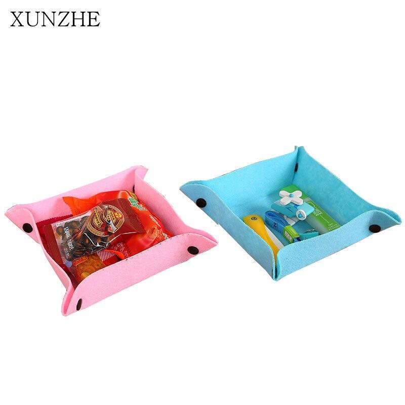 XUNZHE 3 шт. Desktop чувствовал Складная разное хранения корзин бытовой конфеты снэк-контейнер коробок организации офис получать блюдо
