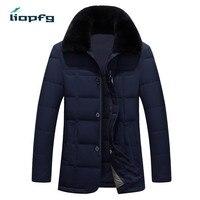 Brand Men Winter Coat 2017 New Fur Collar High Quality Cotton + White Duck Down Cotton Jacket Thickening Jacket Men Jacket WM535