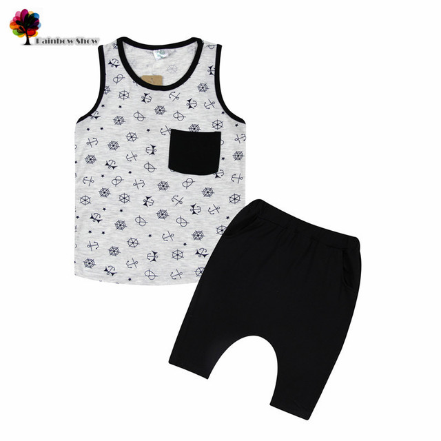 New Children Clothing Summer Boys Sets Anchors-printed Odile Cotton Sleeveless Vest and Short Sets