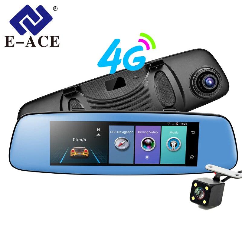 E-ACE Voiture 7.86 GPS Navigation 4g Android 5.1 ADAS DVR Rétroviseur FHD 1080 p Dash Cam Vidéo enregistreur Double Caméra Navigateur