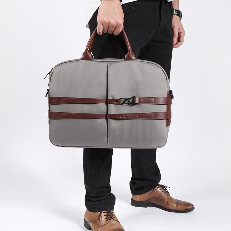 New Group Laptop Business Briefcase Men's Computer Bag 13 14 Inch Handbag Waterproof Canvas Shoulder Messenger Travel Bag Gray цена