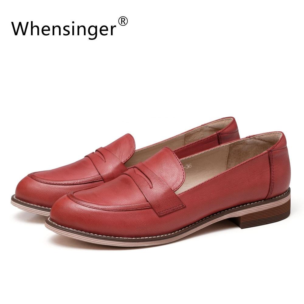 Whensinger zapatos pisos otoño del resorte de 2017 nuevas mujeres de cuero de va