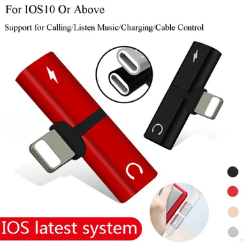 Headphone Adapter Connector Splitter Charger Audio Portable 2 IN 1 For IPhone IOS10 or Above For Jack to Earphone AUX Cable
