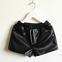 2016 Spring And Autumn New Fake Leather Baby Girl Shorts Artificial Leather Shorts Black 3 14