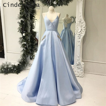 Cinderella Baby Blue V-Neck A-Line Floor Length Cross Backless Satin Pleated Long Women Prom Dresses Open Back Party Prom Gowns