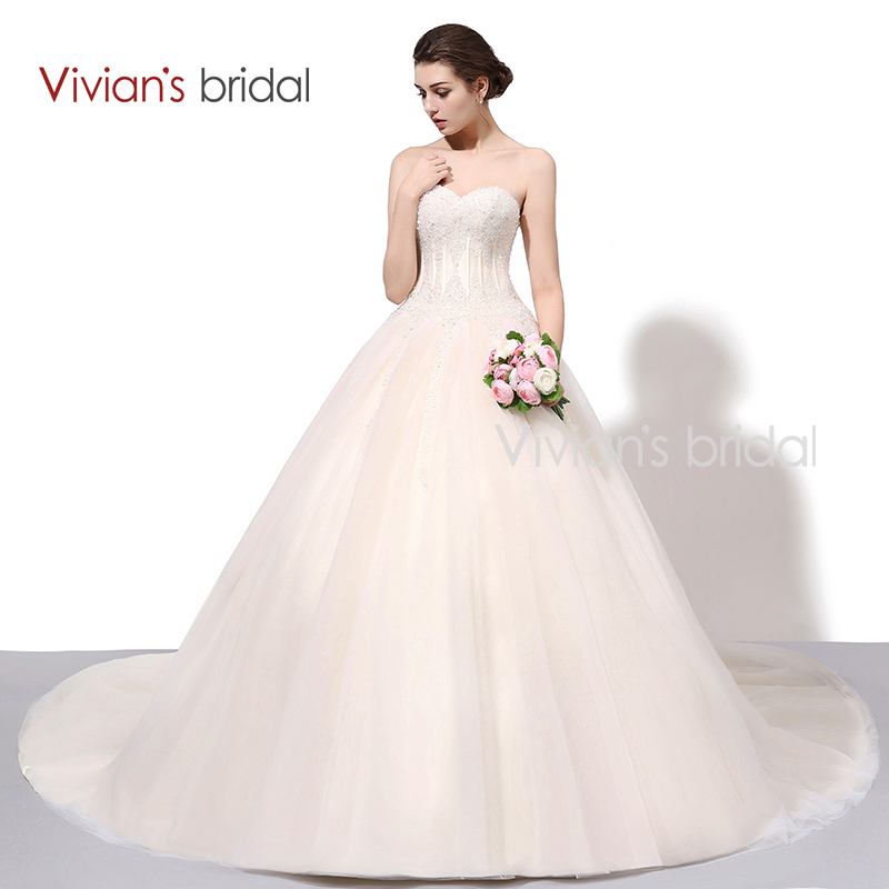 Vivian Bridal Off Shoulder Ball Gown Wedding Dress Beaded Sequin Sayang Bling Bridal Gowns Dengan Kereta Chapel WD650-1