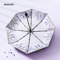 Mucai Windproof Folding Umbrella Black Coating Anti UV Fashion Umbrella Rain Women Flower Print Parasol Sun Umbrellas Paraguas
