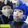 2017 New Autumn And Winter Wool Hat Transformers Warm Hat With A Mask Handmade Knitted Hats
