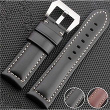 100% Smooth Genuine Cow Leather Watch Strap Band Catalonia 22mm 24mm 26mm For PAM For Polit + Tools все цены