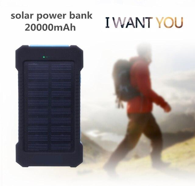 Универсальный 20000 мАч Waterproof Solar Power Bank Dual USB Внешняя Батарея Портативное Зарядное Устройство poverbank Pack Для iPhone xiaomi