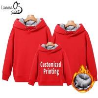 Lanmaocat Winter Family Matching Hoodies Clothes Custom Printed Logo Text Matching Family Hoodies DIY Family Set Free Shipping