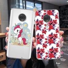 Flower Unicorn Phone Case for Motorola Moto Z4 Play C Z Z2 Z3 G4 G6 Go E4 E5 G5S G7 Play Plus G3 Cover For Moto One TPU Fundas