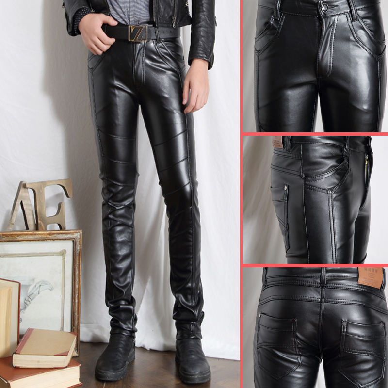 2017 New Brand Personality Men's Leather Pants Slim Male Clothing PU Trousers Nightclub College Party Skinny Biker Pants