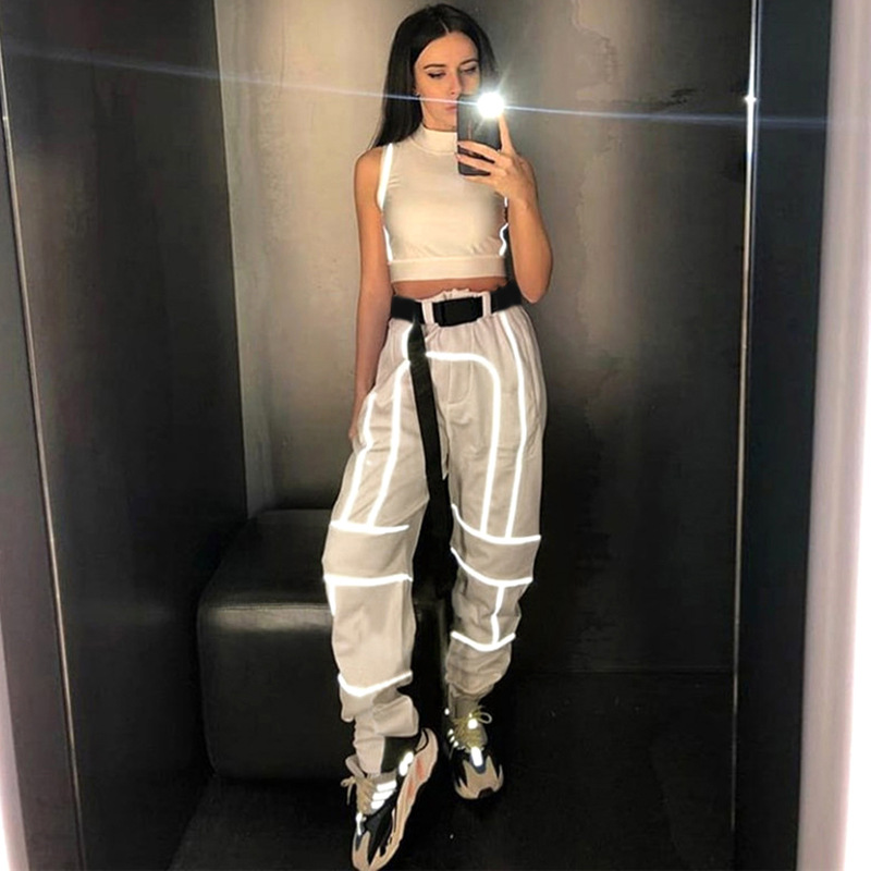 2019 Streetwear Hot Style Women Casual Joggers High Waist Loose Female Trousers Pinkbanana Reflective Stripe Ladies   Pants     Capri