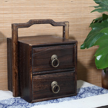 Paulownia Wood Jewelry Box With 2 Drawers and Handle Japanese Tansu Style Jewelry Storage Organier