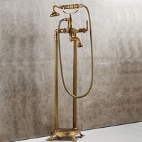Bathtub Faucets Floor Stand Faucet Antique Brass Carved Bathtub Faucet With Hand Shower Bathroom Bath Shower Faucets Torneiras