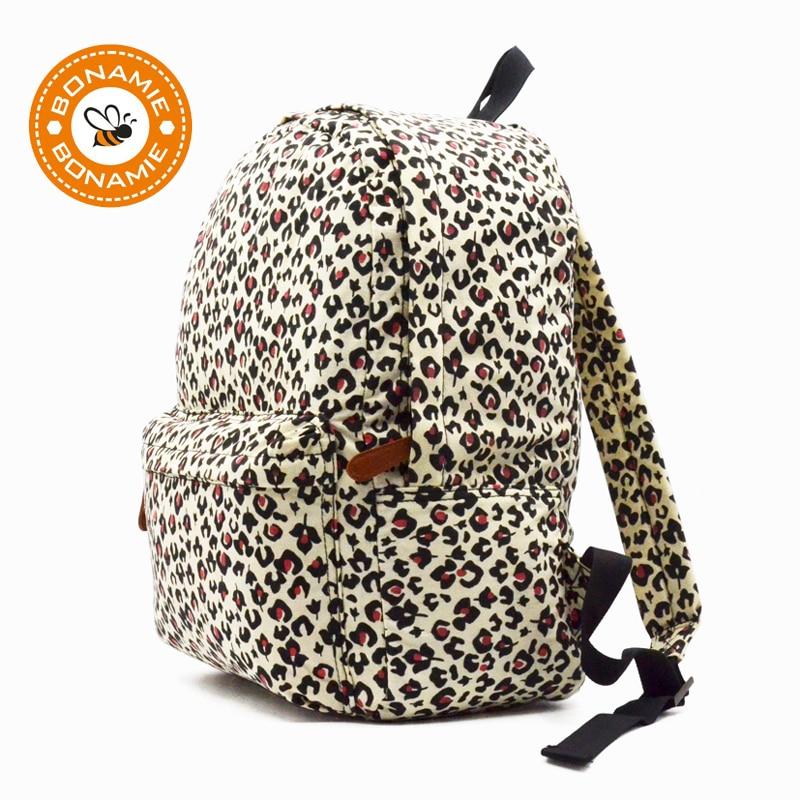 BONAMIE New Fashion Women Canvas Printing Backpack Stylish Leopard Backpacks School Bags For Girls Boys Backbag Mochila Feminina