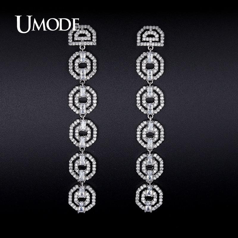 font b UMODE b font Rhodium plated Crystal Dangle font b Earrings b font For