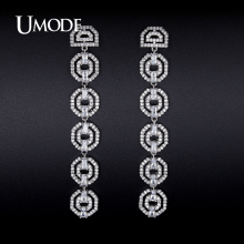 UMODE Rhodium plated Crystal Dangle Earrings For Women 2016 Boucle D'Oreille Femme Christmas Gifts Oorbellen Bijoux AUE0252