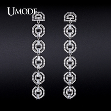 UMODE Rhodium color Crystal Dangle Earrings For Women 2017 Boucle D Oreille Femme Christmas Gifts Oorbellen