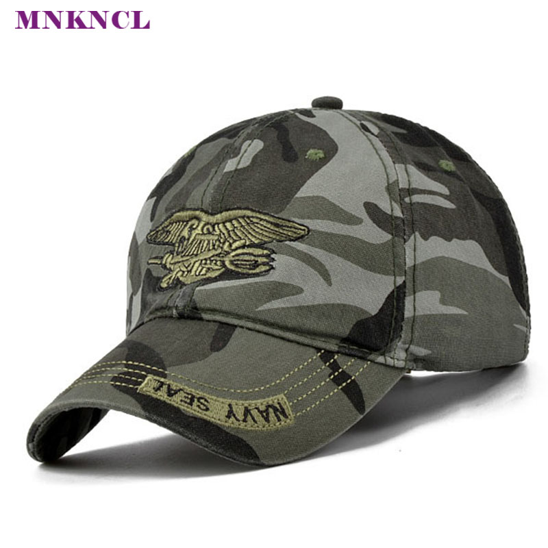 цена на 2017 New Fashion Summer Men's Navy Seal Adjustable Camouflage Cotton Canvas Baseball Cap Sun Hat Outdoors Casual Snapback Caps