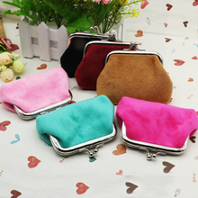 6Colors Women Girls flannelette with zero wallet Coin Bag lady handbag Pouch Purse Candy color Wallet Purse Free shipping