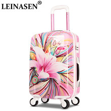 LEINASEN Fashion Women Rolling Luggage Spinner Suitcases Wheels Trolley 20/24' Korean Travel Bag Student Carry on Luggage Trunk(China)