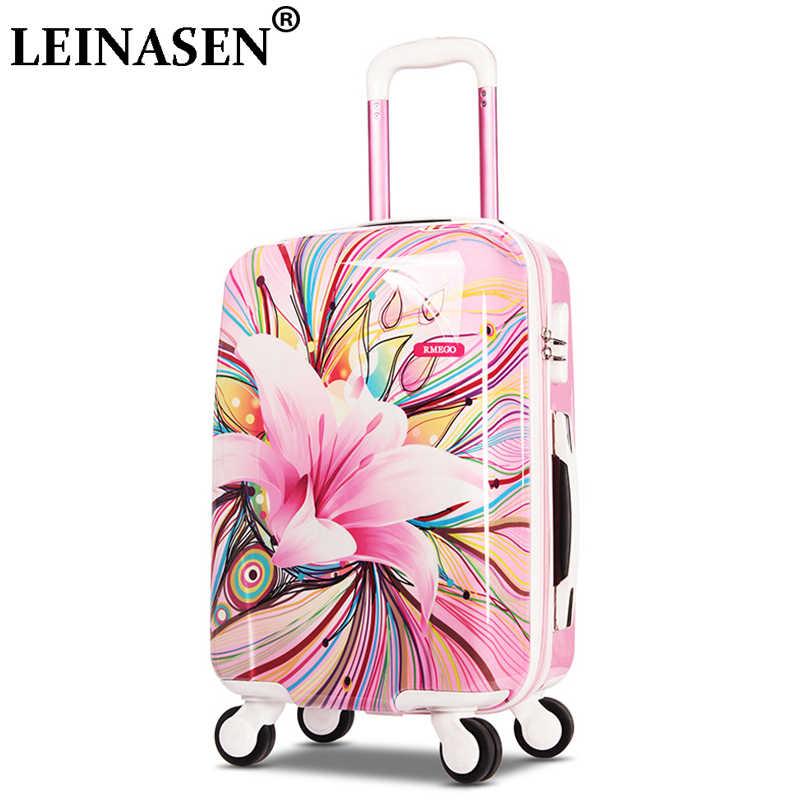 LEINASEN/Модная женская сумка на колесиках, чемоданы на колесиках, колесиках 20/24 ', Корейская дорожная сумка, Студенческая сумка для переноски багажа