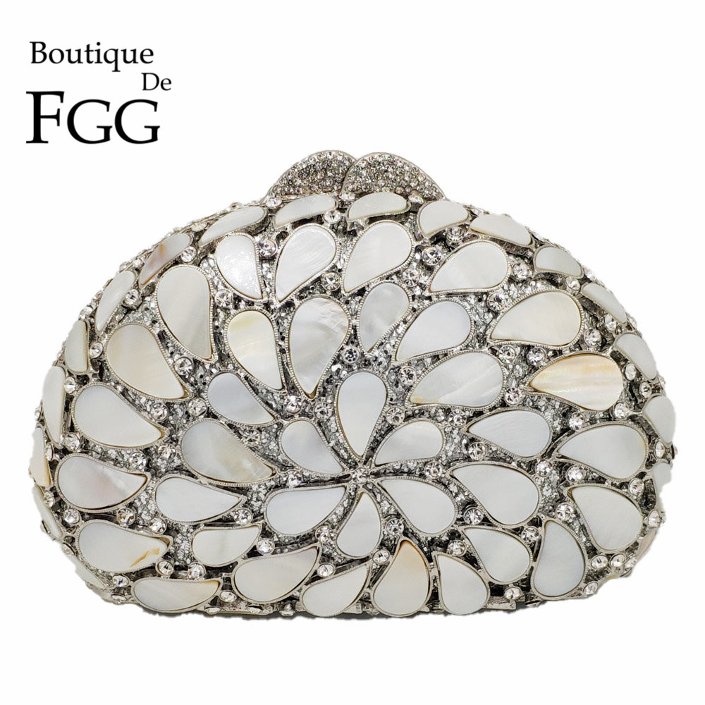 Boutique De FGG Hollow Out Natural Shell Women Evening Bags Hard Case Ladies Metal Crystal Clutches