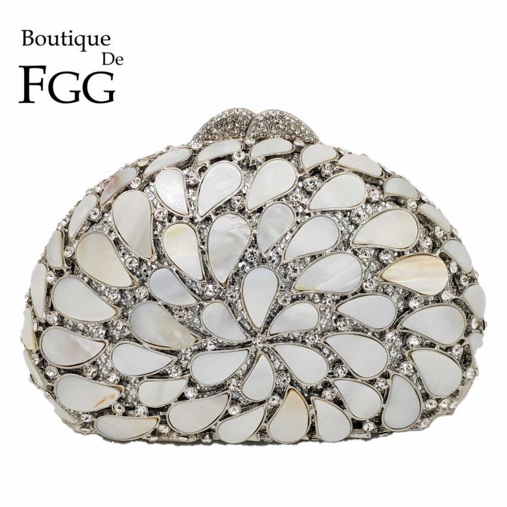 Boutique De FGG Évider Naturel Shell Femmes Sacs de Soirée Dur Cas Dames Métal Cristal Embrayages De Mariage Sacs À Main Parti Sac