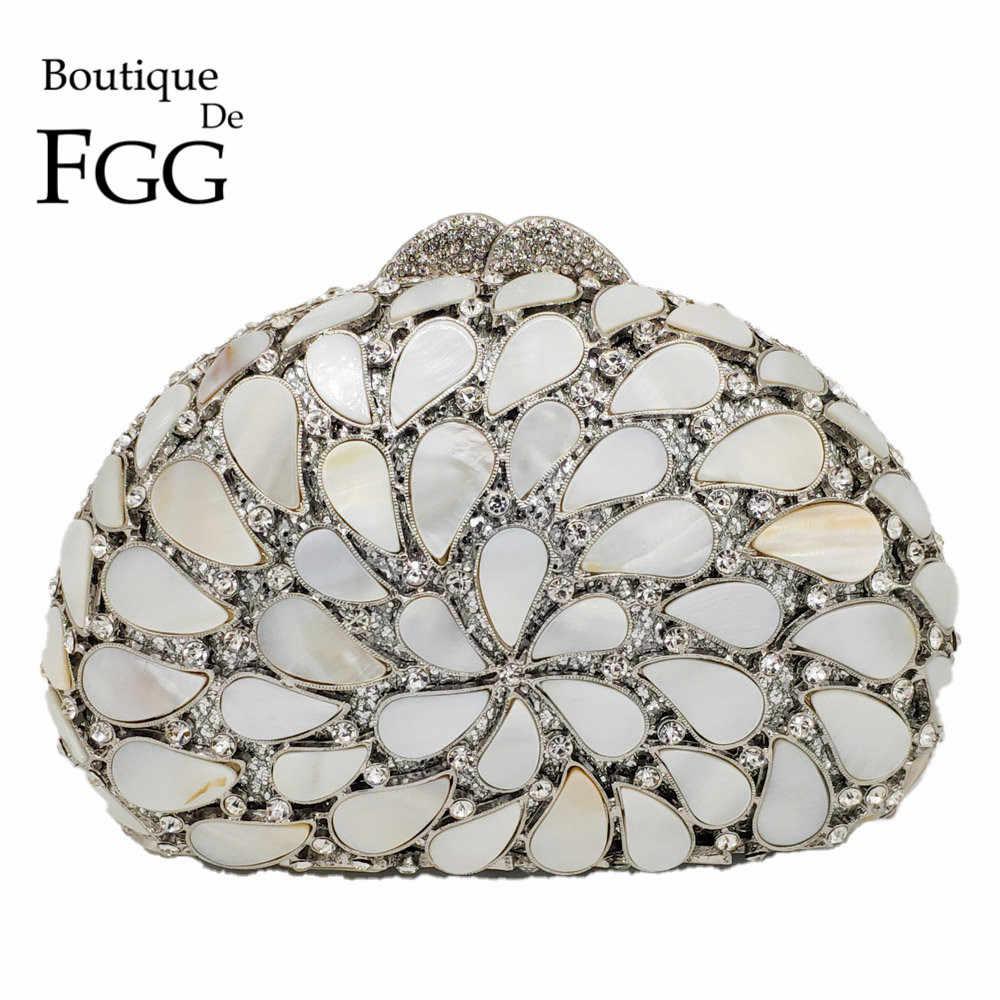 Boutique De FGG выдалбливают Природный основа Для женщин вечерние сумки жесткий чехол дамы металла расшитая кристаллами Сумочка-клатч свадебные сумочки вечерние сумки