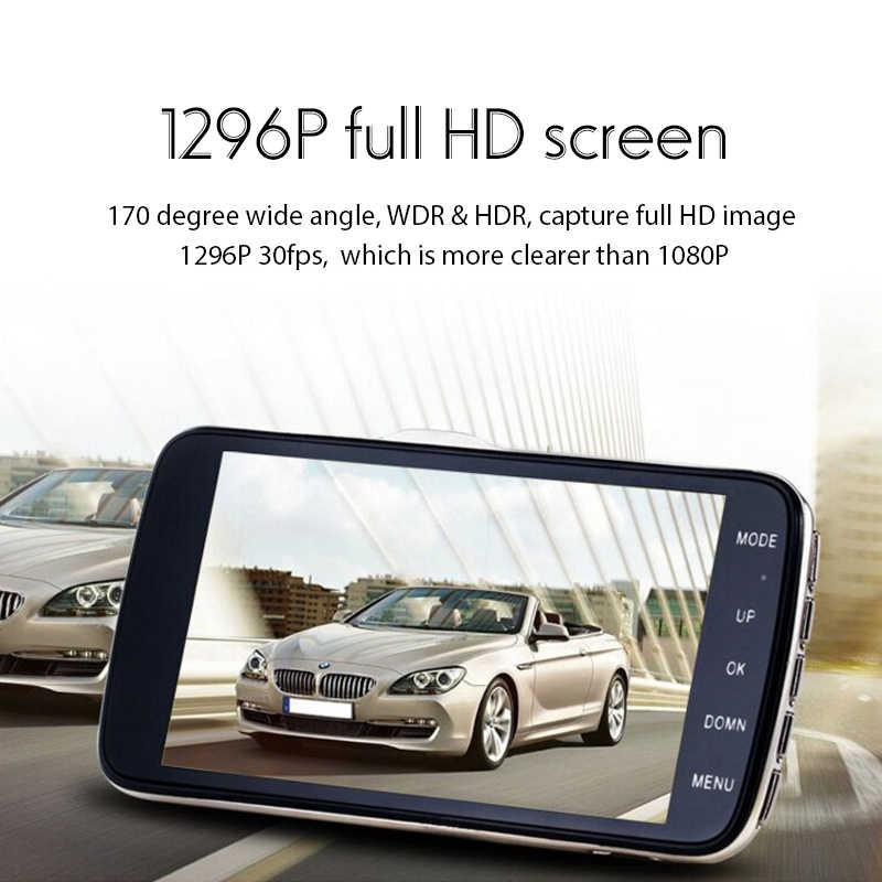 """4,0 """"ips Автомобильная dvr камера с двойным объективом с ADAS LDWS FHD 1296P ночного видения видео регистратор Регистратор Автомобильный видеорегистратор s Dashcam g-сенсор + 16G"""