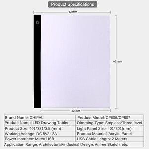 Image 2 - CHIPAL tablette graphique numérique A3, avec boîte à lumière LED 000 caractères, carte de copie, peinture artistique, écriture, Animation, croquis