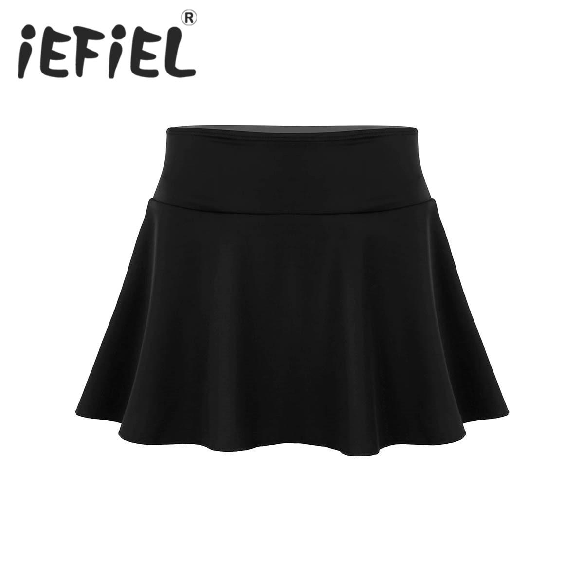 Female Women Solid Color High Waisted Ruffle Swim Skirt with Built-in Bikini Brief Swimsuit Bottom for Swimming Beachwear Skirt