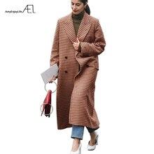 冬の女性の服 ブラウンチェック柄肥厚暖かいウールスーパーロングコート AEL 2017